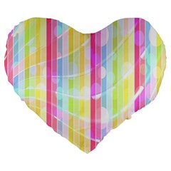 Abstract Stripes Colorful Background Large 19  Premium Heart Shape Cushions by Simbadda