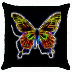Fractal Butterfly Throw Pillow Case (black) by Simbadda