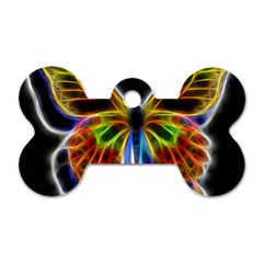 Fractal Butterfly Dog Tag Bone (two Sides) by Simbadda