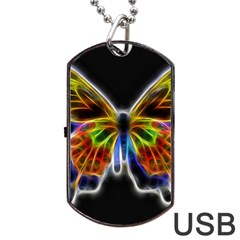 Fractal Butterfly Dog Tag Usb Flash (one Side) by Simbadda