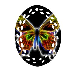 Fractal Butterfly Oval Filigree Ornament (two Sides) by Simbadda
