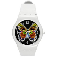 Fractal Butterfly Round Plastic Sport Watch (m) by Simbadda