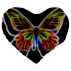 Fractal Butterfly Large 19  Premium Heart Shape Cushions by Simbadda