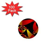 Fractal Ribbons 1  Mini Buttons (100 Pack)  by Simbadda