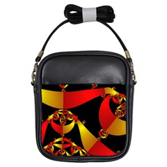 Fractal Ribbons Girls Sling Bags by Simbadda