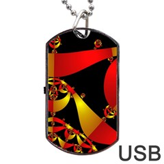 Fractal Ribbons Dog Tag Usb Flash (two Sides) by Simbadda