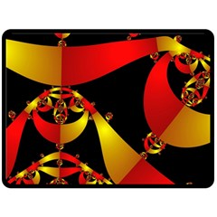Fractal Ribbons Double Sided Fleece Blanket (large)  by Simbadda