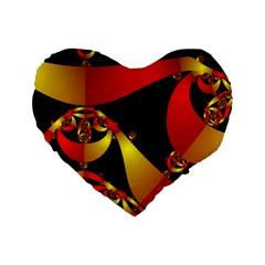 Fractal Ribbons Standard 16  Premium Flano Heart Shape Cushions by Simbadda