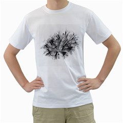 Fractal Black Flower Men s T Shirt (white) (two Sided) by Simbadda
