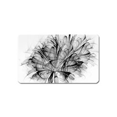 Fractal Black Flower Magnet (name Card) by Simbadda