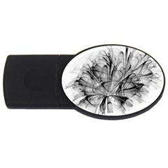 Fractal Black Flower Usb Flash Drive Oval (2 Gb) by Simbadda