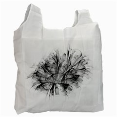 Fractal Black Flower Recycle Bag (two Side)  by Simbadda