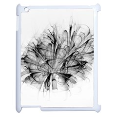 Fractal Black Flower Apple Ipad 2 Case (white) by Simbadda