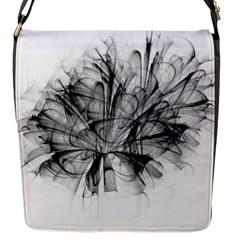 Fractal Black Flower Flap Messenger Bag (s) by Simbadda