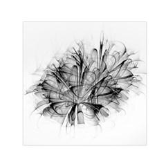 Fractal Black Flower Small Satin Scarf (square) by Simbadda