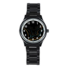 Fractal Lines Stainless Steel Round Watch