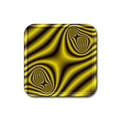 Yellow Fractal Rubber Square Coaster (4 Pack)  by Simbadda