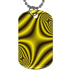 Yellow Fractal Dog Tag (one Side) by Simbadda
