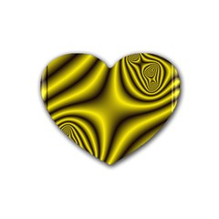 Yellow Fractal Heart Coaster (4 Pack)  by Simbadda