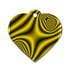 Yellow Fractal Dog Tag Heart (one Side) by Simbadda