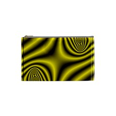 Yellow Fractal Cosmetic Bag (small)  by Simbadda