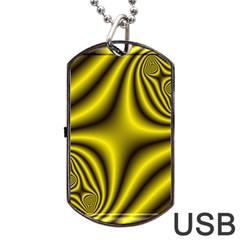 Yellow Fractal Dog Tag Usb Flash (two Sides) by Simbadda