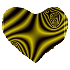 Yellow Fractal Large 19  Premium Heart Shape Cushions by Simbadda