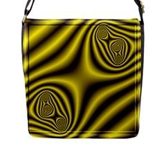 Yellow Fractal Flap Messenger Bag (l)  by Simbadda