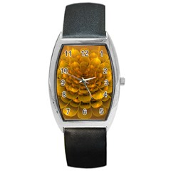 Yellow Flower Barrel Style Metal Watch