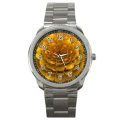Yellow Flower Sport Metal Watch by Simbadda