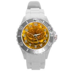 Yellow Flower Round Plastic Sport Watch (l) by Simbadda