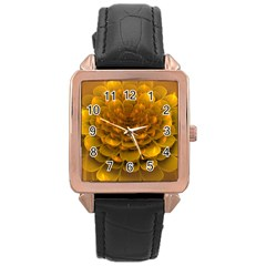 Yellow Flower Rose Gold Leather Watch  by Simbadda
