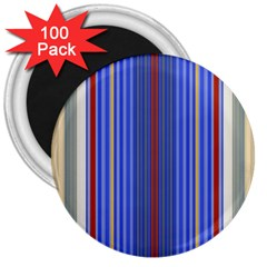 Colorful Stripes 3  Magnets (100 Pack) by Simbadda