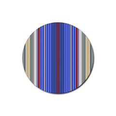 Colorful Stripes Rubber Coaster (round)  by Simbadda