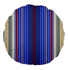 Colorful Stripes Large 18  Premium Round Cushions by Simbadda