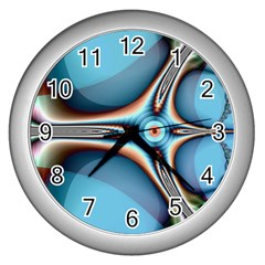 Fractal Beauty Wall Clocks (silver)  by Simbadda