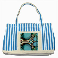 Fractal Beauty Striped Blue Tote Bag by Simbadda