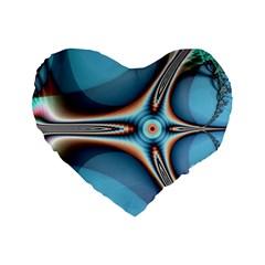 Fractal Beauty Standard 16  Premium Flano Heart Shape Cushions by Simbadda