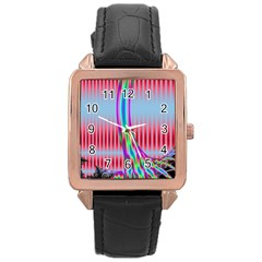 Fractal Tree Rose Gold Leather Watch  by Simbadda
