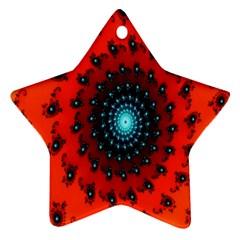 Red Fractal Spiral Ornament (star) by Simbadda