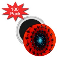 Red Fractal Spiral 1 75  Magnets (100 Pack)