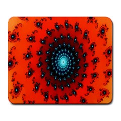 Red Fractal Spiral Large Mousepads by Simbadda