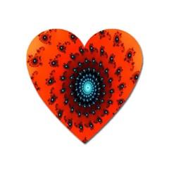 Red Fractal Spiral Heart Magnet by Simbadda
