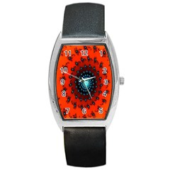 Red Fractal Spiral Barrel Style Metal Watch by Simbadda