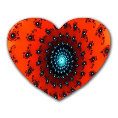 Red Fractal Spiral Heart Mousepads by Simbadda