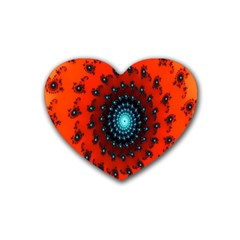 Red Fractal Spiral Rubber Coaster (heart)  by Simbadda