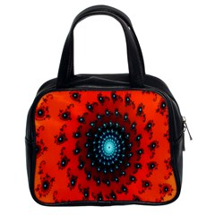 Red Fractal Spiral Classic Handbags (2 Sides) by Simbadda