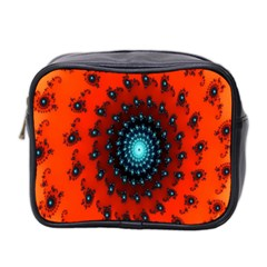Red Fractal Spiral Mini Toiletries Bag 2 Side by Simbadda