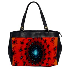 Red Fractal Spiral Office Handbags by Simbadda