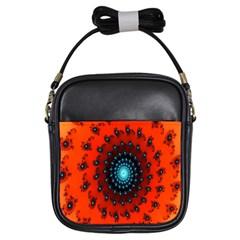 Red Fractal Spiral Girls Sling Bags by Simbadda